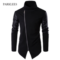 Turtleneck Sweater Men 2017 Fashion Patchwork PU Leather Sleeve Design Long Mens Cardigans Casual Slim Zipper Black Pull Homme