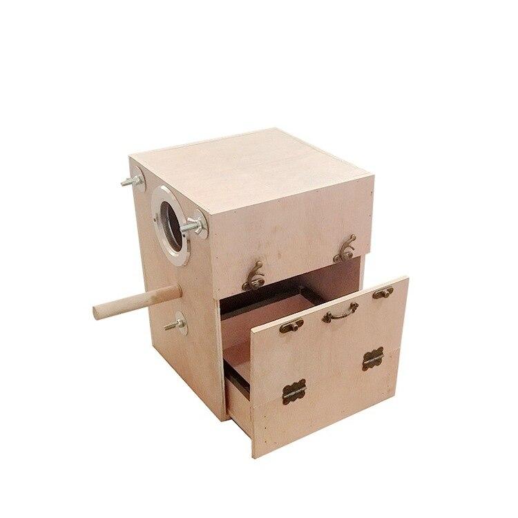 Perroquet élevage boîte avec tiroir bois oiseau nid chaud incubateur boîte maison perruche Cage suspendus oiseau Cages accessoires fournitures