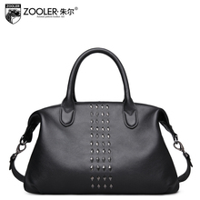 zooler genuine leather women bag brands fashion rivets Head layer cowhide quality cowhide women handbags shoulder messenger bag