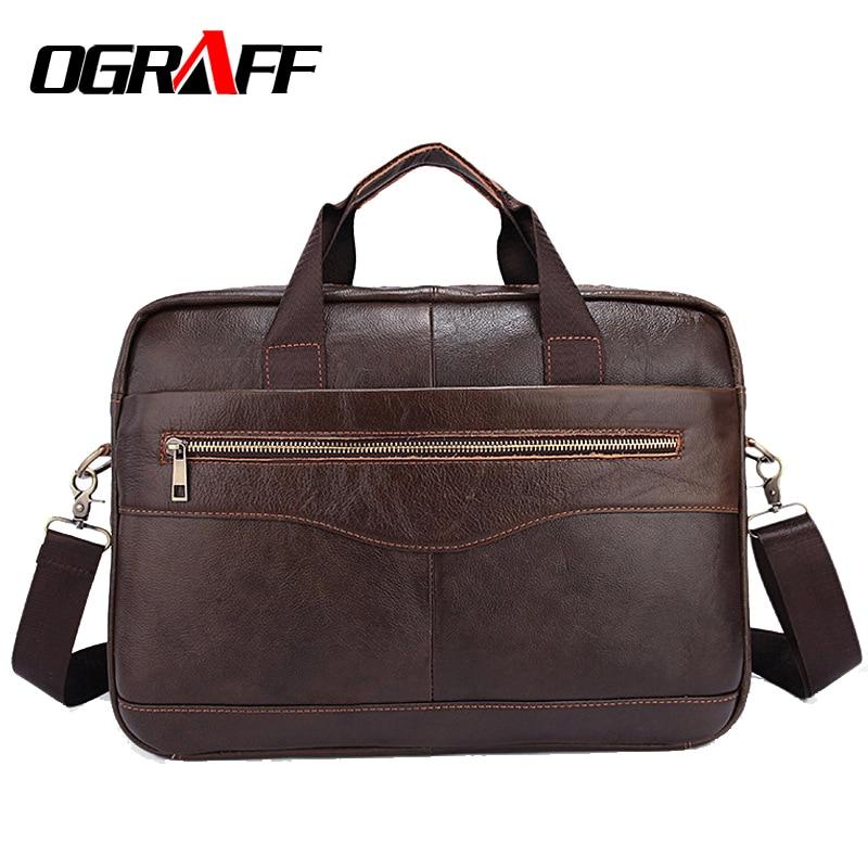 OGRAFF Genuine Leather Bag Men Briefcase Messenger Bags Cowhide Laptop Bag Business Handbags Shoulder Vintage Office Bag For Men adiors medium straight side parting tail adduction synthetic wig