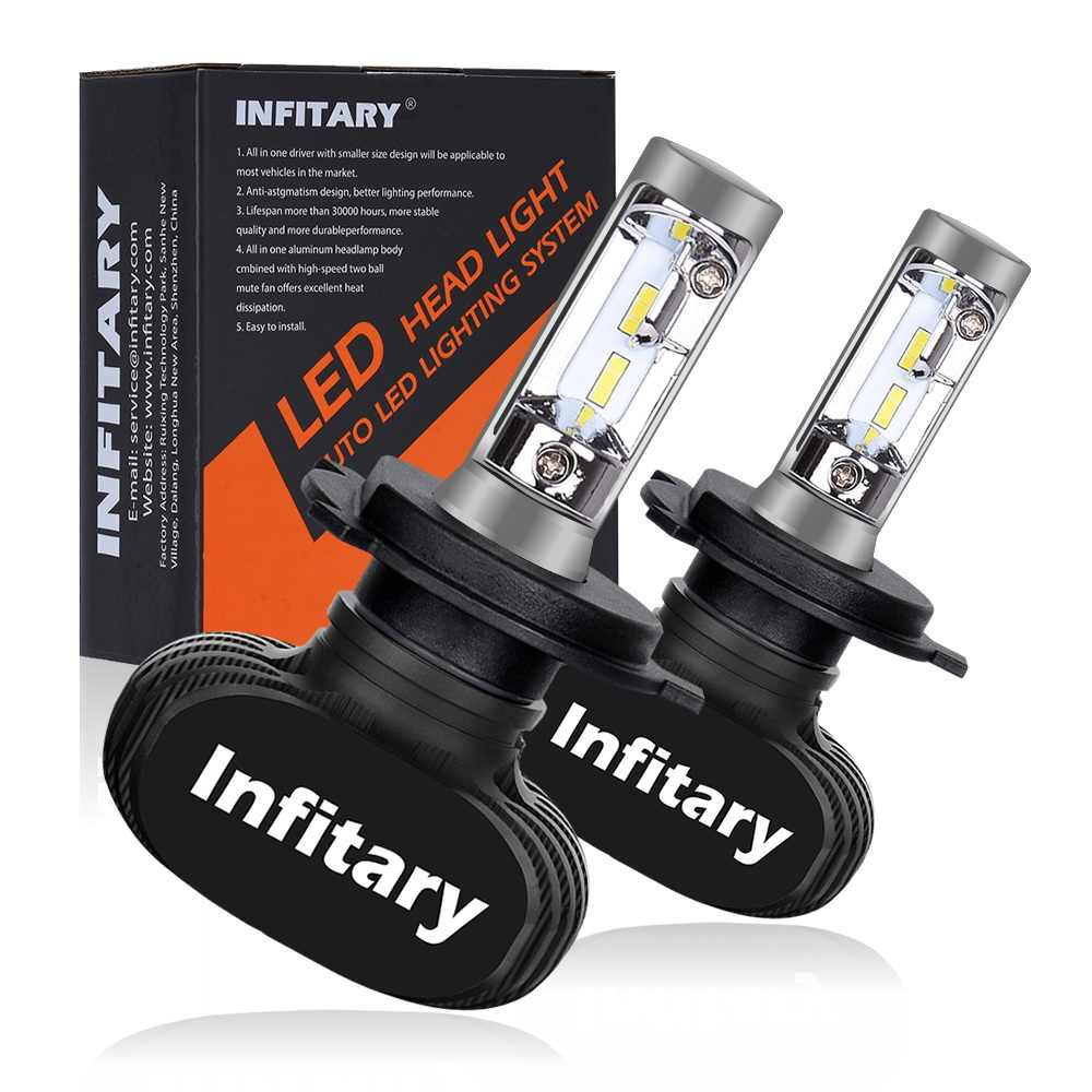 Infitary Car LED Headlight Bulbs All in One S1 H7 H11 H1 880 H3 9005 9006 50W 8000LM H4 H13 9007 High Low Beam Lights Headlamp