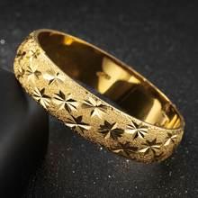 Резной в виде звезды толстый браслет 15 мм ширина желтое золото