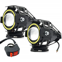 hot deal buy 2pcs motorcycle headlights led spotlights fog lights with white angel eye ring u7 for cree 15w waterproof motorbike led bulbs