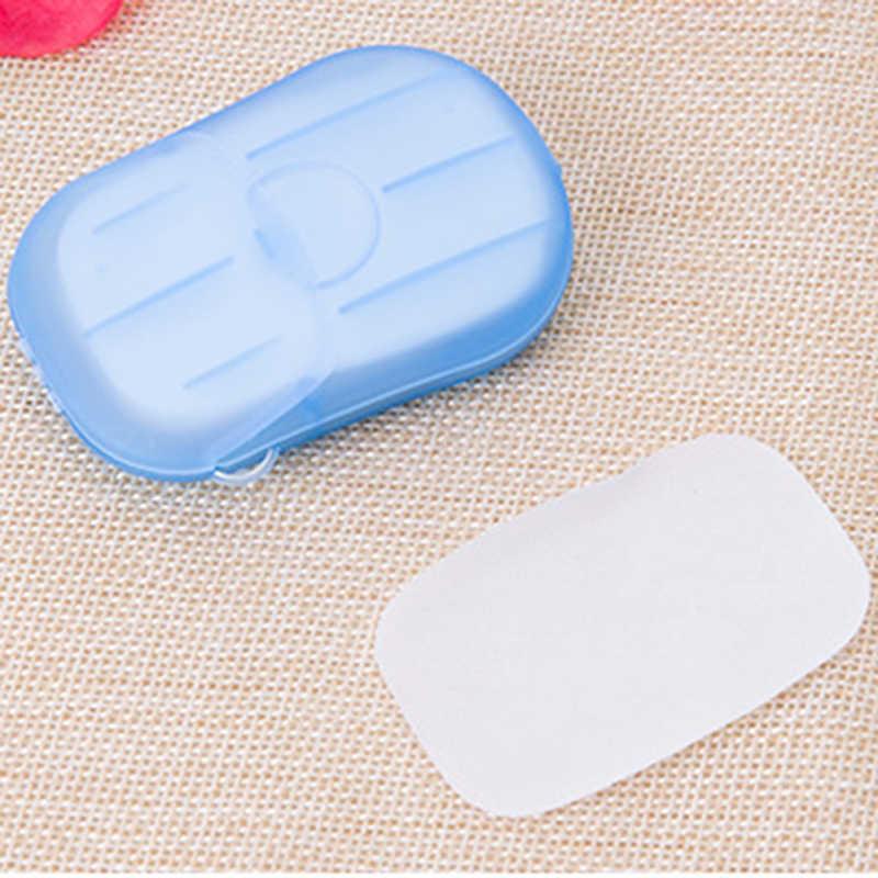 20 piezas portátil Mini jabón de viaje papel Lavado de Manos baño limpio perfumado hojas de rebanada desechable caja jabón blanqueador fabricación de jabón