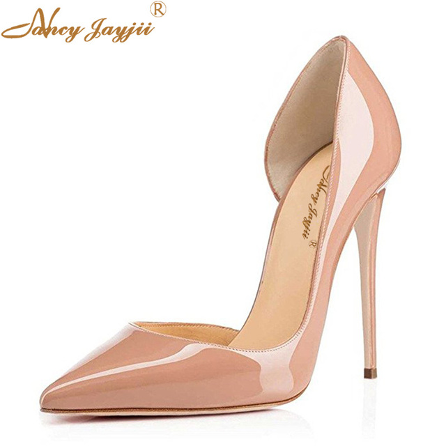 19c2e7c2942 Classic Nude Spring Autumn Women Patent Leather Pumps High-heeled Shoes  Thin High Heel Casual Shoes Korean Pointed Stiletto