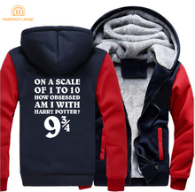 Platform 9 3/4 Funny Hogwarts Hoodies 2019 Hot Autumn Winter Movie Mens Sweatshirts Thick Coat Casual Zip Up Jackets