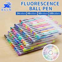 100Colors Gel Pens Set Refills Gel Ink Pen Metallic Pastel Neon Glitter Sketch Drawing Color Pen Art Stationery
