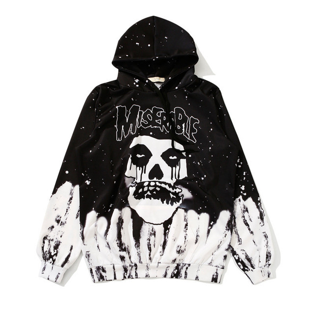 Black White Skull Hoodie Women Street Gothic Style Hoodies MISERABLE Letter  Print Sweatshirt Cool Girl Loose Hooded Pullover 2dc8d511ce
