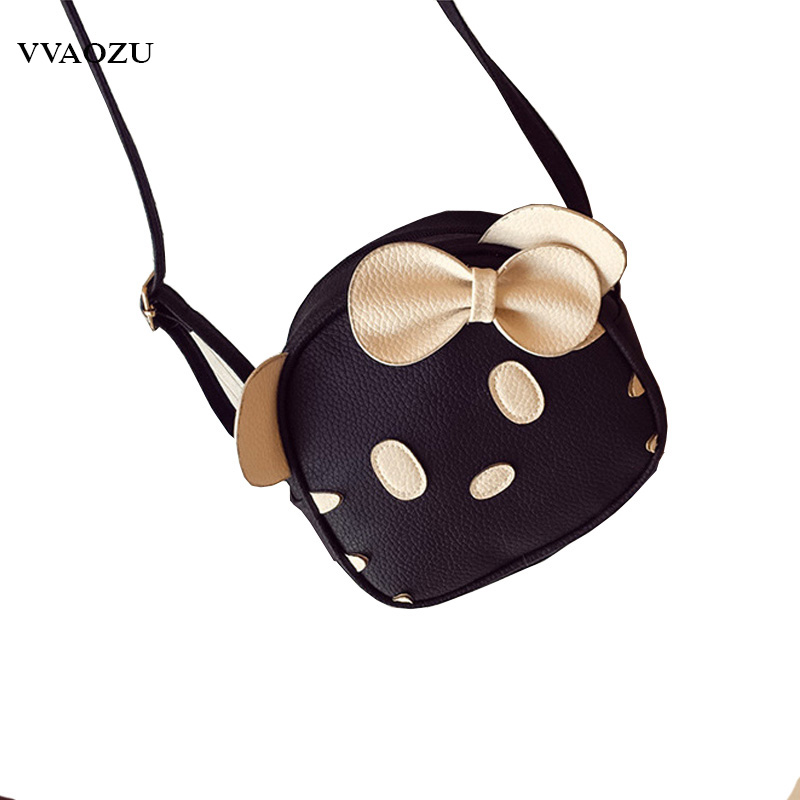 Lolita Bowknot Bags 3D Cat Shape Design Women Shoulder Bag PU Leather Girl Funny Round Messenger Crossbody Bag with Ears and Bow sweet women s crossbody bag cat shoulder bags with moon print and ear pattern design
