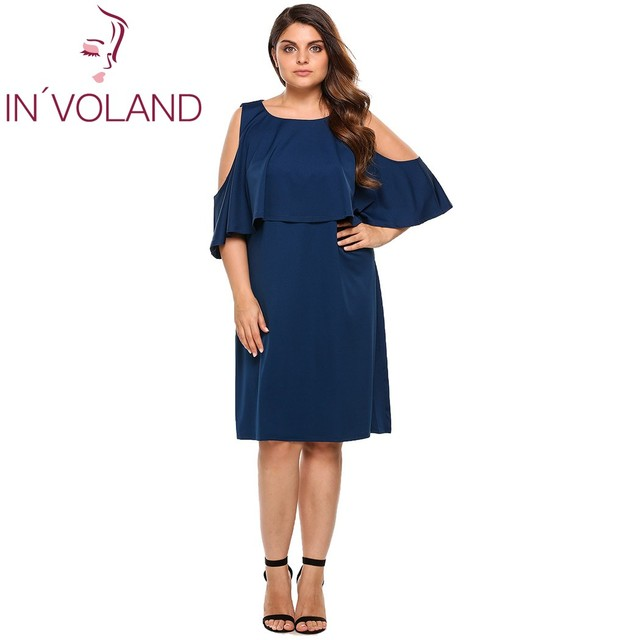 IN VOLAND Women Dress For Summer Casual Cold Shoulder Ruffles Solid Party  Beach Dresses Brand 86c812922411