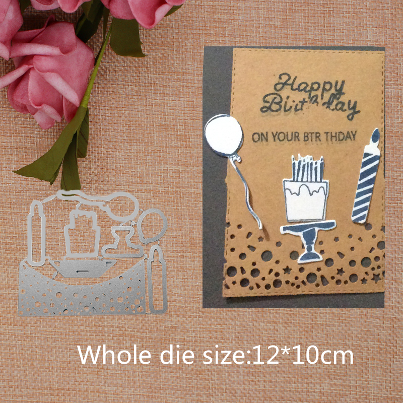 Little Birthday Cake Candle Balloon Cutting Dies cutter for Scrapbooking Punch Embossing Stencil Card DIY Crafts 12 10cm in Cutting Dies from Home Garden