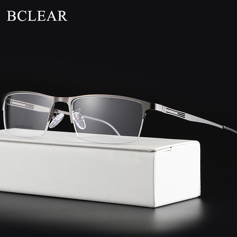 BCLEAR Titanium Alloy Glasses Frame Men Ultralight Square Myopia Prescription Eyeglasses Metal Half Rim Optical Frame Eyewear