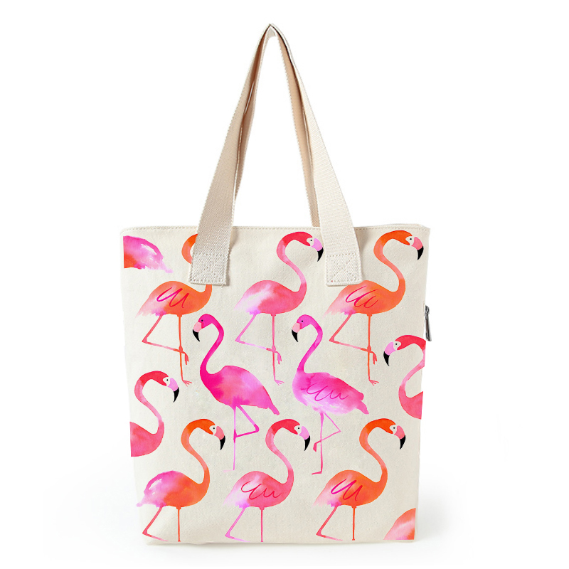 Flamingo print canvas tote bag customized eco bags custom made shopping bags with logo  Dachshund Shepherd Dog Poodle (11)