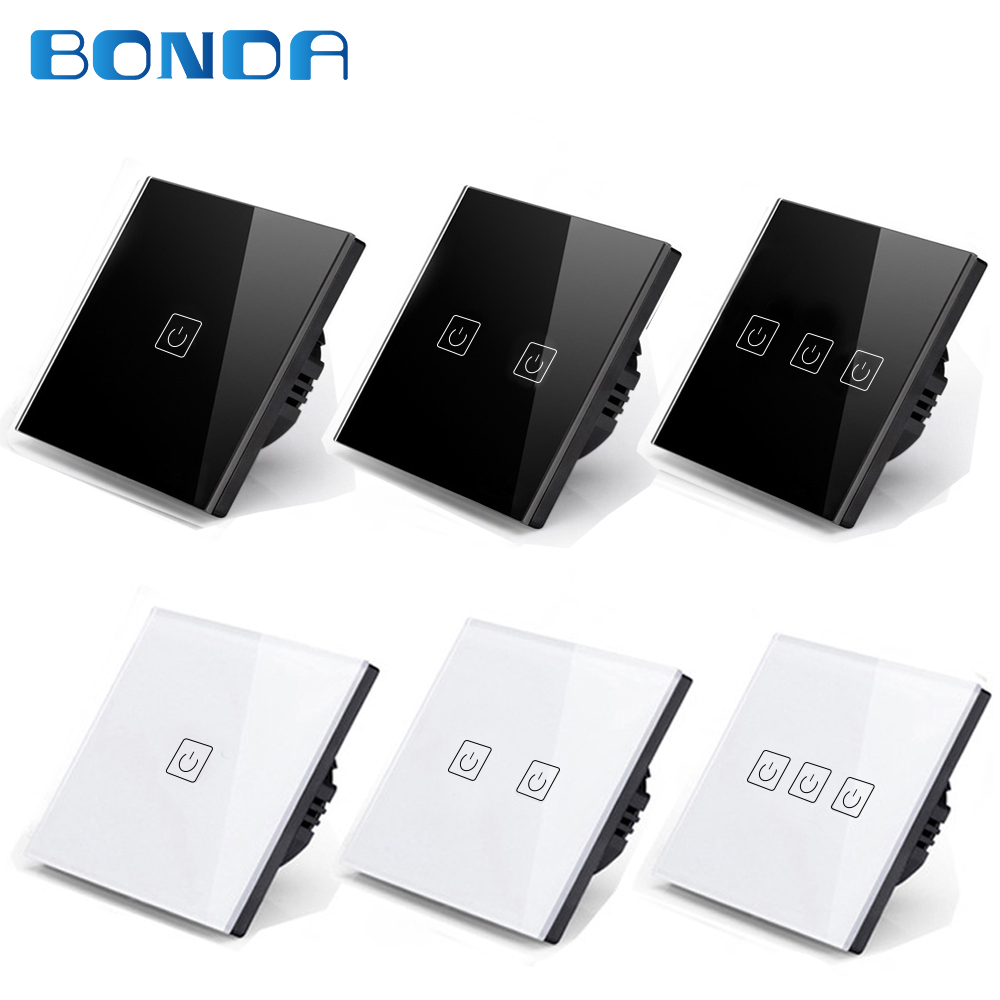 все цены на BONDA genuine EU/UK standard 1/2/3 open black, white, gold three-color touch screen wall light switch luxury crystal glass panel онлайн