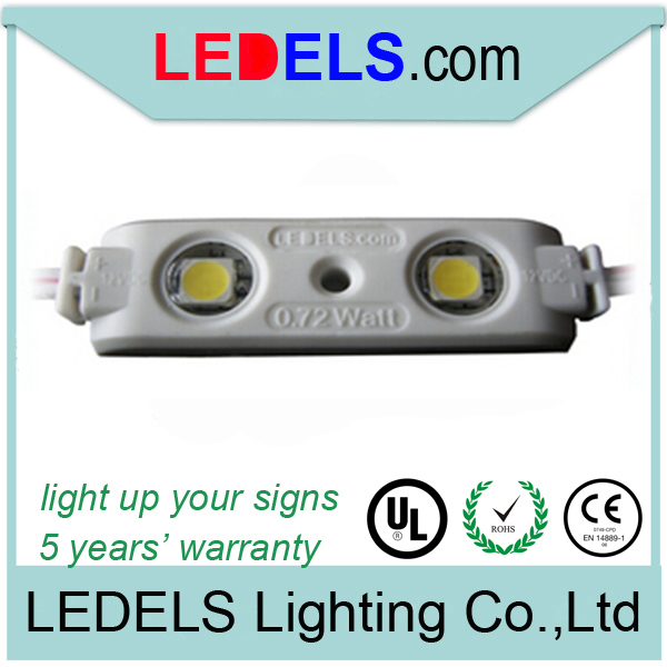 CE ROHS Approved,3 years warranty,12v 44lm 0.72watt epistar 5050 3 led module 3 chips for signs illuminated
