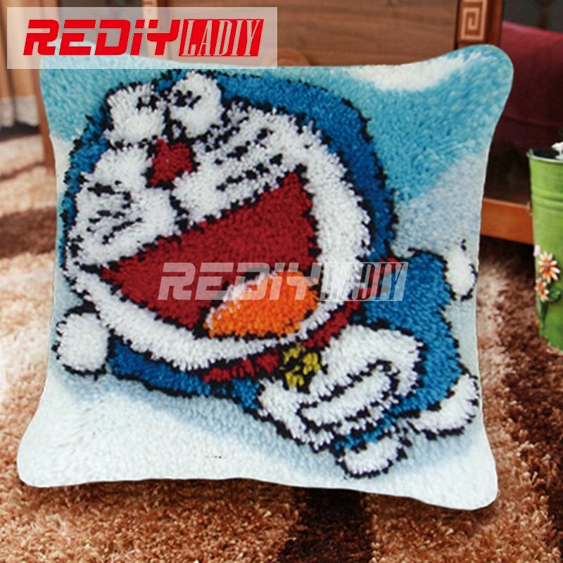 Ladiy Latch Hook Cushion Kits Yarn For Embroidery Cushion Cover Blue