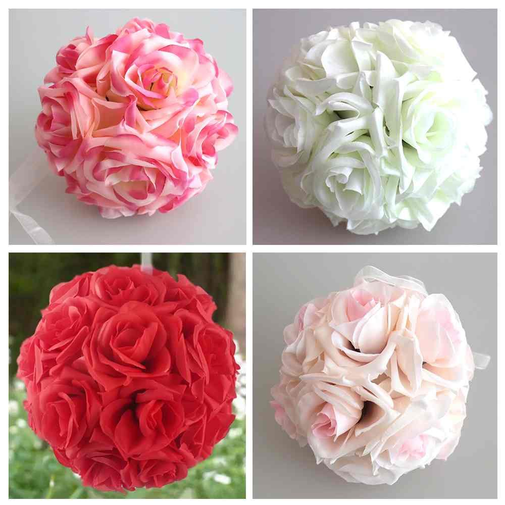 Diy Multi Colour 6Sizes Handmade Artificial Flowers Silk Roses Kissing Flower Ball Bouquet Craft Home Wedding Party Decor