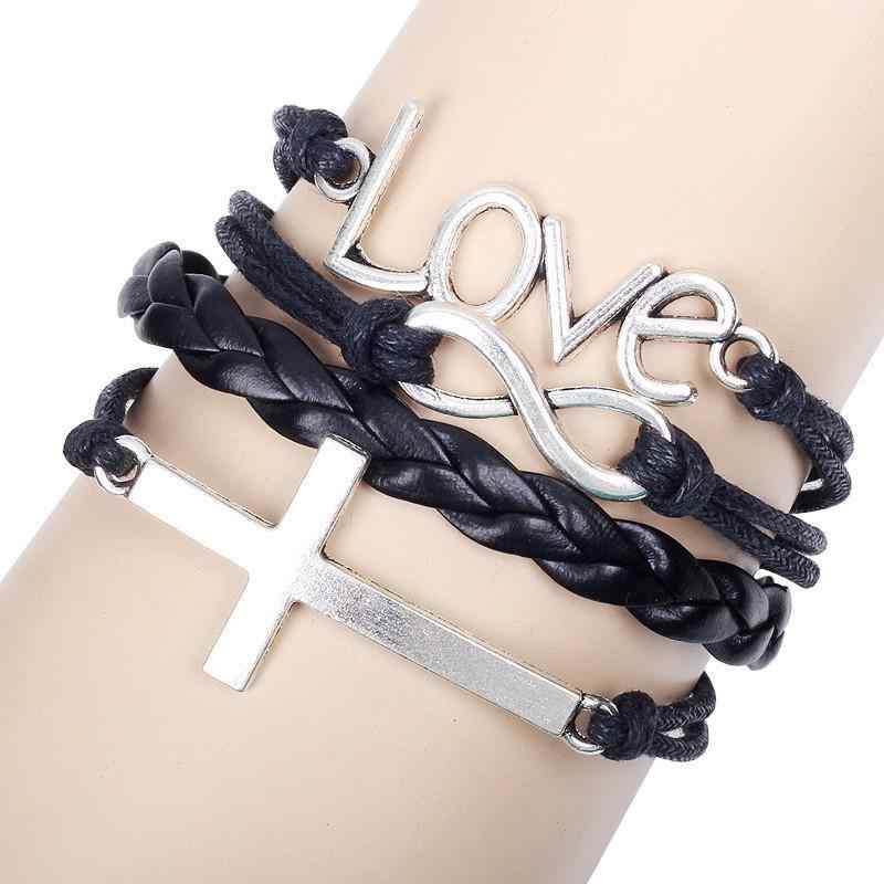 ,New Year Christmas Gifts Bangle love Cross infinite handwoven bracelet Personalized Bracelet