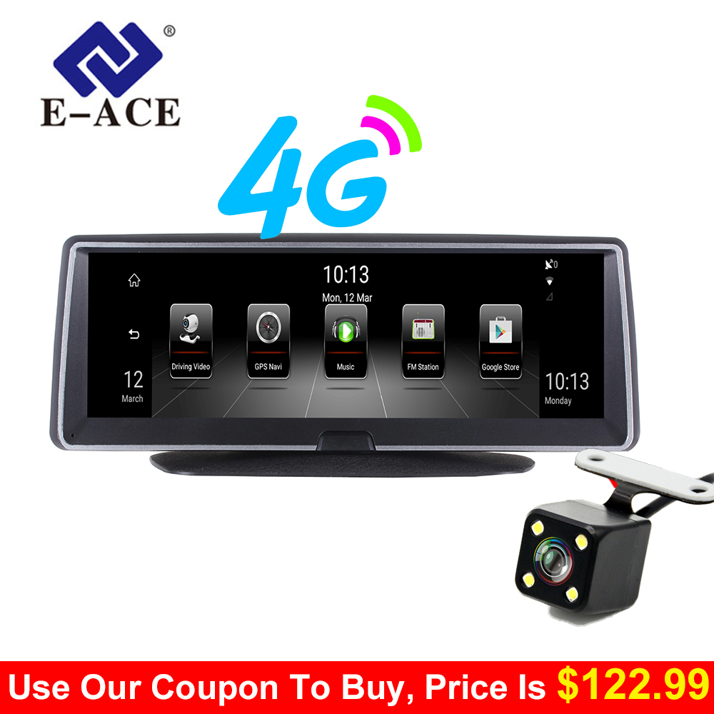 E ACE 8 дюймов 4 г Android Двойной объектив Видеорегистраторы для автомобилей gps навигатор ADAS Full HD 1080 P тире Камера Авто Видео Регистратор навигации