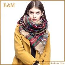 140x140cm winter acrylic tartan plaid scarf brand blanket shawl designer pashmina wrap stole for Lady Women