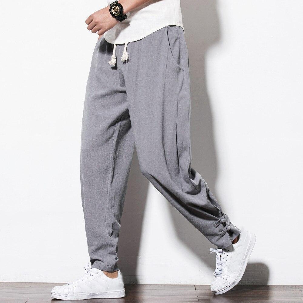 2018 Autumn New Men Pants Brand Loose Plus Size Casual Pants Mens Pan Kou Chinese Style Linen Thin Trousers Men Clothes Gray 5XL