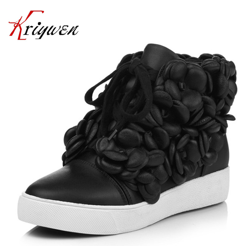Large size 34-40 2016 fall women ankle boots cowhide soft leather flower genuine leather women short boots flat with shoes lady frank buytendijk dealing with dilemmas where business analytics fall short