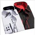 2017 Novo Design de Sarja de Algodão Puro Cor Branca Formal do Negócio Vestido camisas Dos Homens de Moda Manga Comprida Camisa Social Grande Tamanho 5XL 6XL