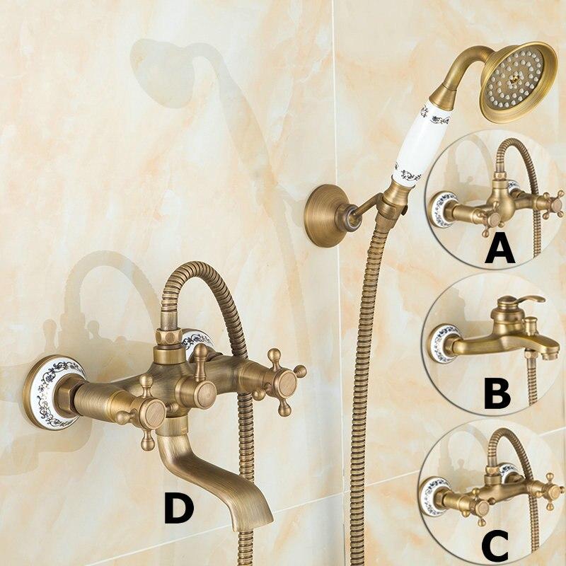 Antique laiton brossé robinets de bain mural salle de bain bassin mélangeur robinet grue avec main douche tête bain et douche robinet - 2