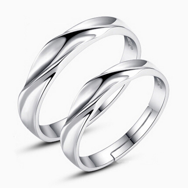 2pcs Silver Plated Water Wave Shaped Love S Size Adjule Wedding Ring Rings Mix Whole