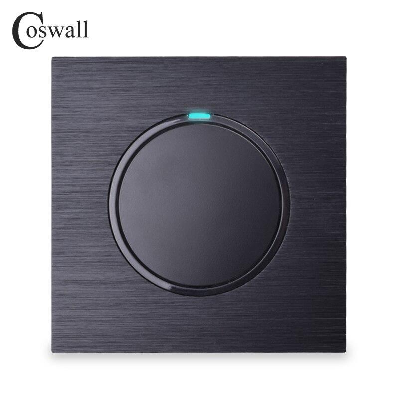 Coswall lujoso 1 Gang 2 Way botón de presión aleatorio interruptor de luz de pared con indicador LED Panel de Metal de aluminio negro