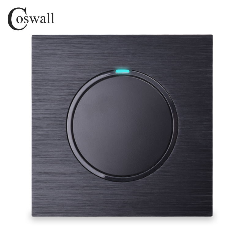 Coswall Luxuriöse 1 Gang 2 Weg Gelegentliche Klicken Sie Auf/Off Wand Licht Schalter Mit Led-anzeige Schwarz Aluminium Metall panel