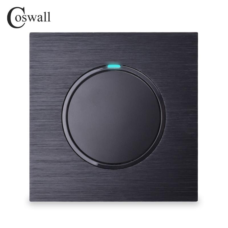 Coswall Luxuriöse 1 Gang 2 Weg Gelegentliche Klicken Taster Wand Licht Schalter Mit Led-anzeige Schwarz Aluminium Metall Panel