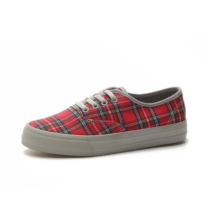 Women Fashion Sneakers Spring New 2018 Retro Plaid Canvas Shoes Breathable Vulcanize Causal Shoes Platform Sneakers Trainers