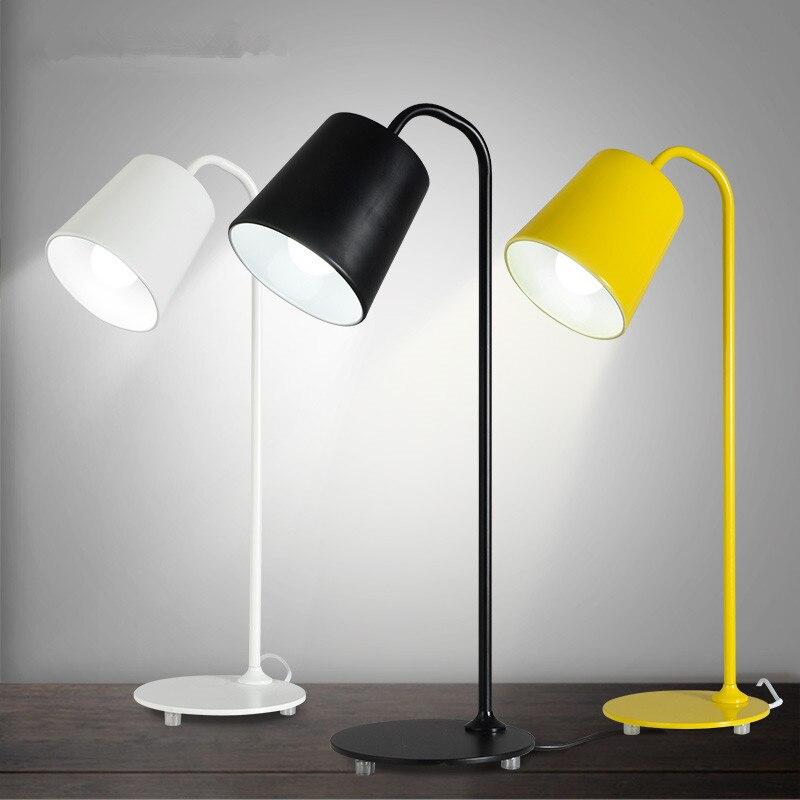 Современный H55cm коленом из кованого железа желтый железный Настольный светильник настольные лампы для спальни e27 светодиодная лампа для прикроватной учебы комнаты, офиса, Белый/Черный настольные лампы