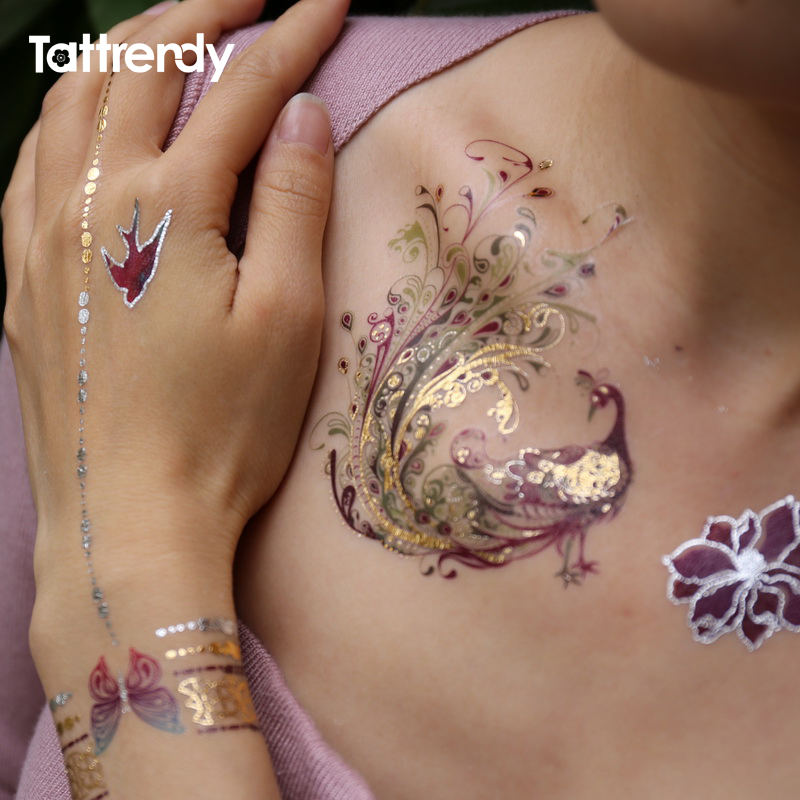 Colorful Feather Tattoo Done In March 2013: Flash Metallic Waterproof Tattoo Temporary Color Gold