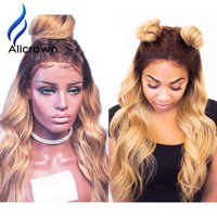 Alicrown Body Wave Ombre 1B/27 Ombre Color Lace Front Wigs Knots Bleached Remy Hair Brazilian Human Hair Wigs 13*4 Pre-Plucked