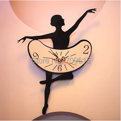 Ballet mute wall clock cwall creative fashion home decoration Dancing time Beautiful decorative acrylic - MY Home--Make Home & Life Comfortable store