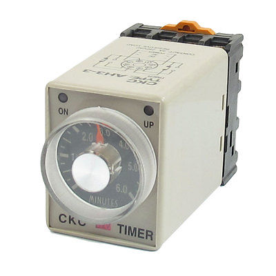 0-6 Minutes 8 Pin Plastic Housing Delay Timer Time Relay DC 12V AH3-3 w Base ah3 3 ac 380v 0 30 minutes 8p terminals delay timer time relay w base
