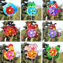 Vaikų spalvų apdaila plaza lauko mažų vėjo malūnų gyvūnai idėjos kraštovaizdžio spalvos vėjo malūno žaislas.