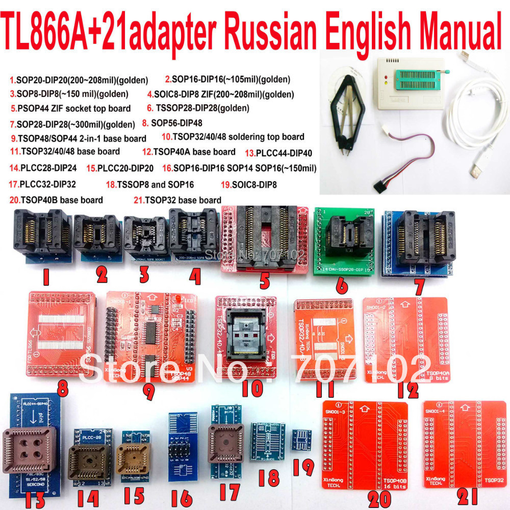 TL866A programmer 21 adapters english russian manual High speed TL866 AVR PIC Bios 51 MCU Flash