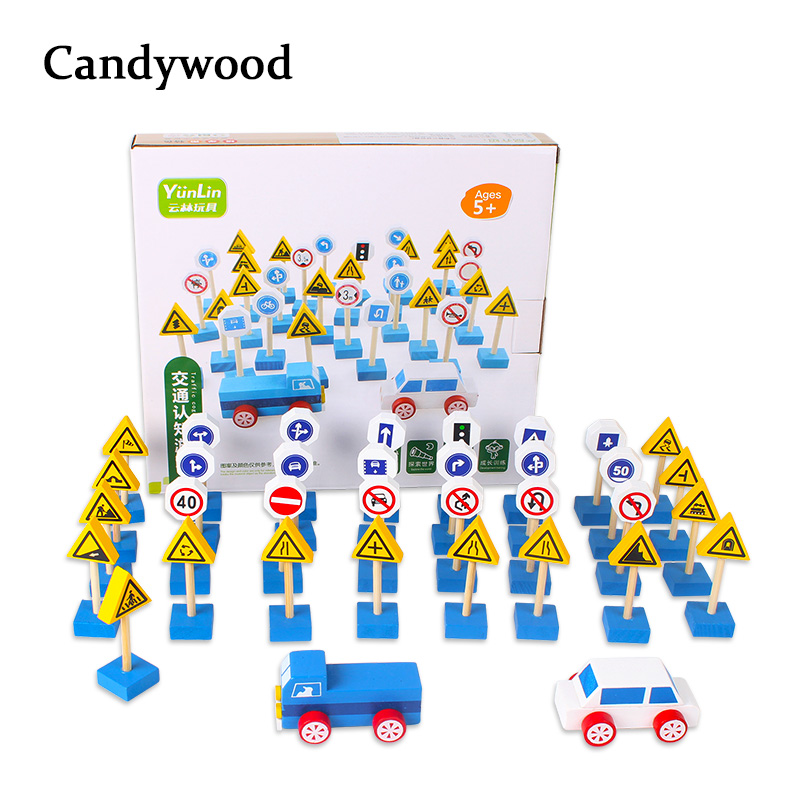 New 35pcs/set Wooden Street Traffic Signs Parking Scene Roadblock Sign Kids Children Educational Toy Set For Kids Birthday Gift