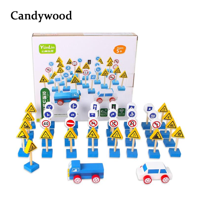 New 35pcs/set Wooden Street Traffic Signs Parking Scene Roadblock Sign Kids Children Educational Toy Set For Kids Birthday Gift