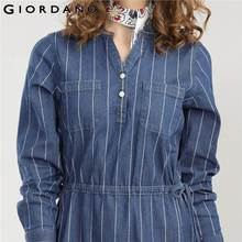 Giordano Women Dress V neck Denim Dresses Women Long Sleeves Vestido Stripe Casual Blouse Dress Fashion Lady Clothes 2018
