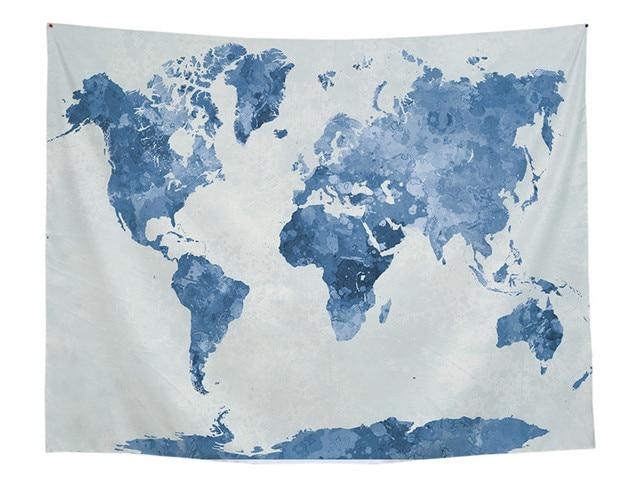 World Map Polyester Tapestry Mandala Printed 150x130 Wall Hanging