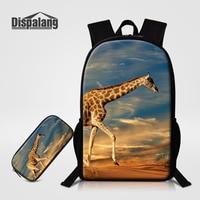 Dispalang Women Men School Backpack Pencil Bag For Teenage Animal Giraffe Print Children Backpack Large Student Bag Pencil Case