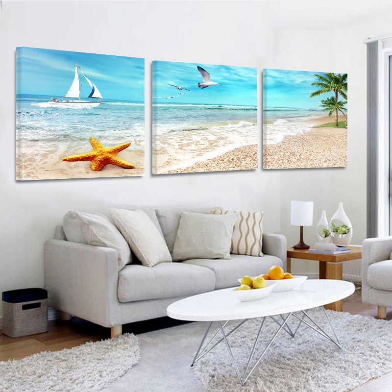 No Frame pictures Painting Canvas Paintings 3panel Toile Decorative Art Wall Pictures For Living Room Oil Seaview Family picture