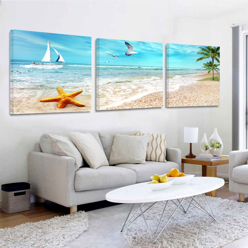 Nu Imagini de cadru Pictura Tablouri de panza 3panel Toile Decorative Art Wall Imagini de perete pentru camera de zi Oil Seaview Imagine de familie