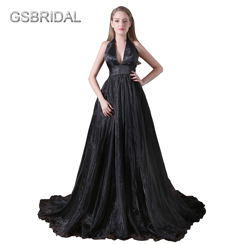 GSBRIDAL Deep V Sexy A Line Backless Black Evening Celebrity Dress ...