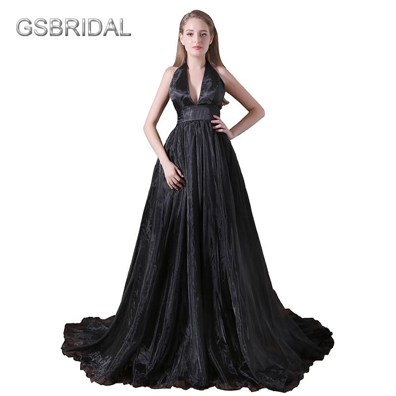 GSBRIDAL Deep V Sexy A Line Backless Black Evening Celebrity Dress