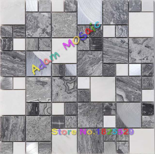 Black White Marble Tiles Fireplace Wall Deco Grey Mosaic Stones Shower Wall  Brushed Stainless Steel Tiles
